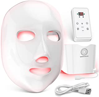 Dermashine Pro 7 Color Wireless LED Face Mask with Neck Attachment | Photon Red Light Therapy For Healthy Skin Rejuvenation | Collagen, Anti Aging, Wrinkles | Korean Skin Care, Facial Skin Care Mask