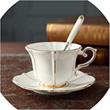 European Bone China Coffee Cup And Saucer Set Ceramic Mug Phnom Penh Afternoon Teacup Tea Set Red Teacup Gift,C