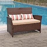 SUNSITT Outdoor Wicker Loveseat with Cushions, 2 Seats Patio...