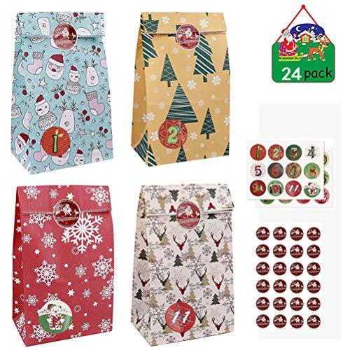 Kousa Weihnachts-Adventskalender-Tüten, 24 Stück, Papiertüten für Weihnachten, DIY-Adventskalender, Countdown-Dekorationen