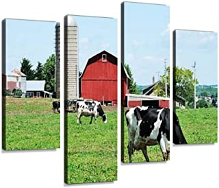 Dairy Farm Canvas Print Artwork Wall Art Pictures Framed Digital Print Abstract Painting Room Home Office Decor Ready to H...