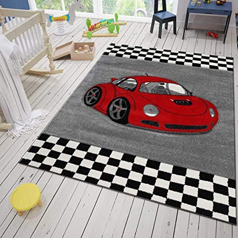 VIMODA Moderner Kinder Teppich Car Auto Rennwagen Kurzflor Frisee versch Gren 160x230 cm