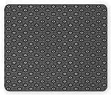 Tapis de Souris de Jeu, Tapis de Souris Traditional Mouse Pad, Moroccan Arabesque Zellige Abstract Bohemian Mosaic Ceramic Heritage Pattern, Standard Size Rectangle Rubber Mousepad, Black White