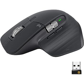Logitech MX Master 3 Mouse Wireless Avanzato, Ricevitore Bluetooth o USB 2.4 GHz, Scorrimento Rapido, 4000 DPI Qualsiasi Superficie, Ergonomico, 7 Pulsanti, PC/Mac/Laptop/iPadOS, Grigio (Scuro)