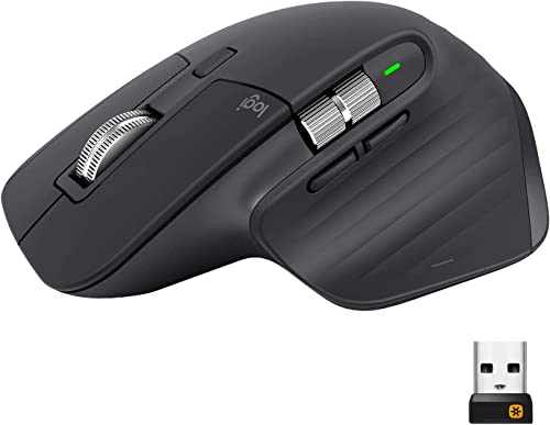 Logitech MX Master 3 Advanced Wireless Mouse, Bluetooth or 2.4GHz USB Receiver, Ultrafast Scrolling, 4000 DPI Any Sur...