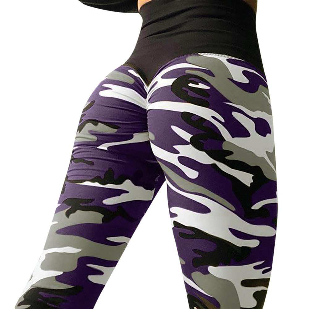 Womens Fashion Camo Workout Yoga Leggings Fitness Sports Gym Running Athletic Pants MITIY S-XL