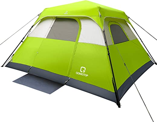 OT QOMOTOP Tents, 6/8/10 Person 60 Sec Set Up Camping Tent, Waterproof Family Tent with Top Rainfly, Instant Cabin Tent, Advanced Venting Design, Green