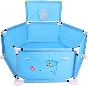 DZWSD Baby Playpen Portable Kids Safety Play Center Yard Home Indoor Fence Anti-Fall Play Pen With basketball hoop  Color blue pink