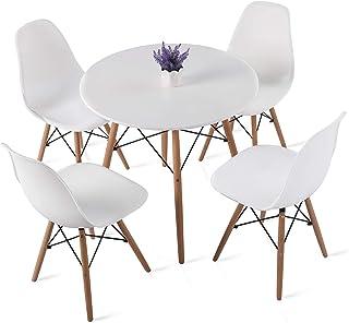 H.J WeDoo Ensembles de Meubles de Salle à Manger, Ronde Table de Salle à Manger en MDF avec 4 Moderne Scandinaves Blanc Ch...