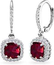 Sterling Silver Genuine, Created or Simulated Gemstone Cushion-Cut Dangle Halo Leverback Earrings for Women