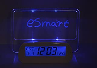 HIGHSTAR Creative Multi Function Erasable Memo/Message Board Digital LED USB/Battery Alarm Clock (Highlighter Included) (Blue/Green) (New Voice Control Blue Light with 2 USB Port:)
