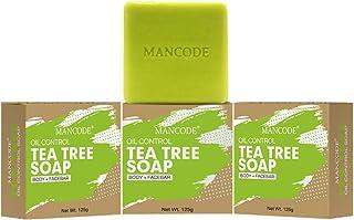 Mancode Anti Bacterial Tea Tree Soap - 125gram Each | Disinfecting Treats Oily Skin | Green Color Bar | Refreshing | Natur...