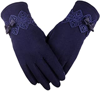 Winter Gloves Solid Lace Cotton Gloves for Women Wrist Length Mittens Gloves Guantes