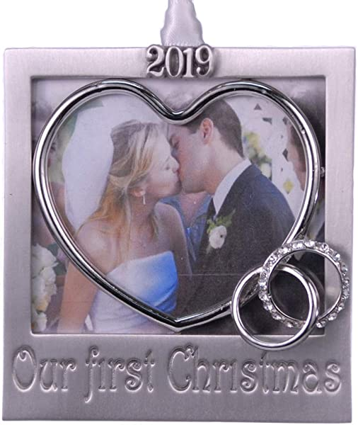 2019 Our First Christmas Tree Photo Ornament 3 3 Hand Crafted Pewter With Austrian Crystals