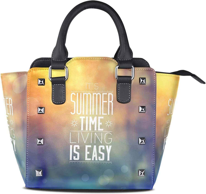 My Little Nest Women's Top Handle Satchel Handbag Summer Time Living is Easy Ladies PU Leather Shoulder Bag Crossbody Bag