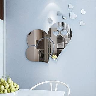 CCINEE 23pcs Heart Shape Mirror Wall Sticker 3D Art Wall Decal Removable Mirror Wall Sticker for St. Valentine's Day Home Decoration