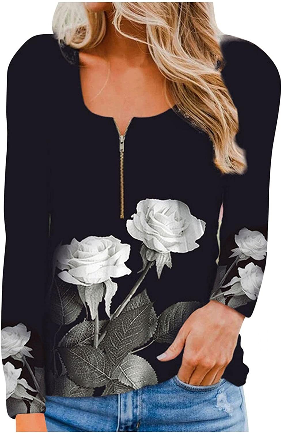 Women's Casual T-Shirt Plus Size Tunic Tops Sexy Floral V Neck T Shirts Blouse Tops to Wear with Leggings Plus Size