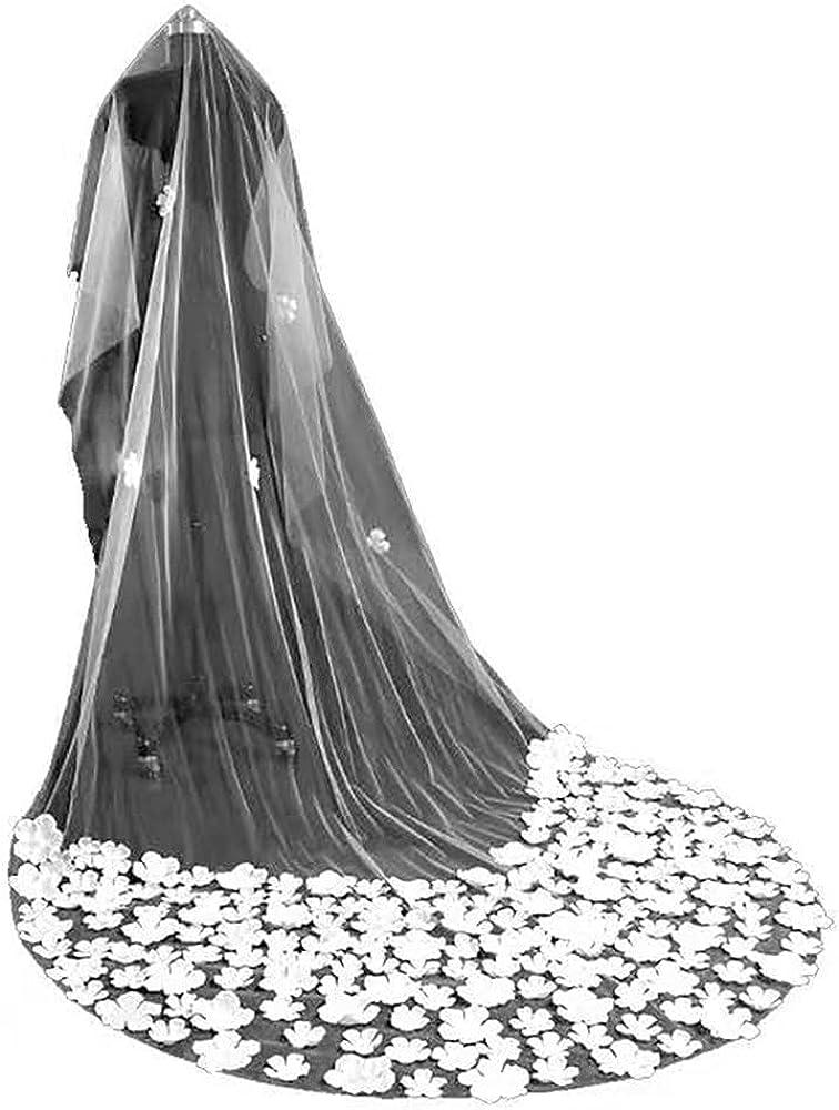 Bridal veil single layer white yarn sticking flower veil three meters long tail