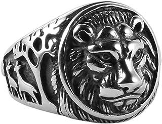HZMAN Men's Vintage Stainless Steel Ring Lion Head Shield Biker Gold/Silver/Black