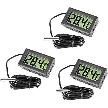 NONE Gadgetpooiuk/ Term/ómetro Digital para Nevera y congelador de Acero y de Color Negro