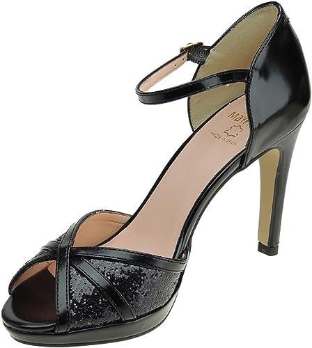 Mayfran 5582 Zapato Fiesta schwarz Tacón Fino de 10CM y Silberforma para damen
