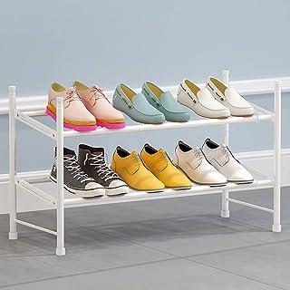 FZX514 Étagère À Chaussures À 2 Étages Extensible Et Empilable Finition Fer Forgé (60-110) X22X36.5Cm,Blanc