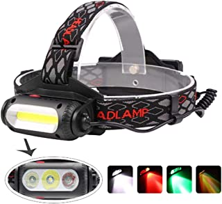 BESTSUN LED Headlamp Rechargeable with Red/Green/White Light, 1000 Lumen COB Headlamps Hunting Headlight for Hiking Camping Fishing Night Vision (3 Colors Light)
