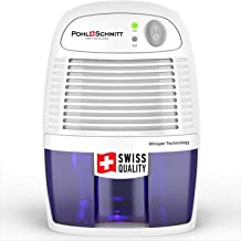 Pohl Schmitt Mini Dehumidifier, 17oz Water Tank, Ultra Quiet - Small Portable Design for Homes, Basements, Bathrooms and B...