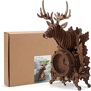 Amy&Benton 3D Wooden Puzzle Clock Model Kit for Adults and Kids to Build - Christmas Reindeer Desk Clock Wall Mountable -(Large, Dark)