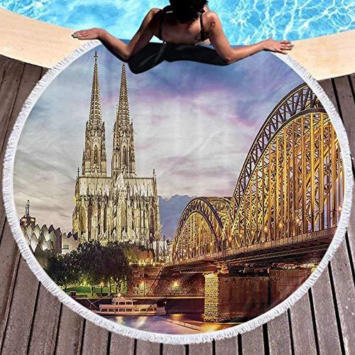 W-wishes Runde Handtuchhalter Köln Alte Brücke und Rhein Suneuropean Mehrzweck 59 Zoll Durchmesser