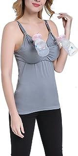 Zhhmeiruian 女性の 母性の 手を無料にして 胸を ブラベスト授乳ブラ 下着の 授乳タンクトップ 忙しいお母さんは、仕事ができます