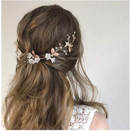 IYOU diadema nupcial con diseño de flores y perlas vides de pelo de hojas accesorios para el cabello de novia para mujeres y niñas (oro rosa)