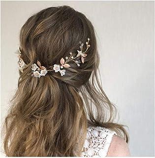 IYOU diadema nupcial con diseño de flores y perlas vides de pelo de hojas accesorios para el cabello de novia para mujeres...