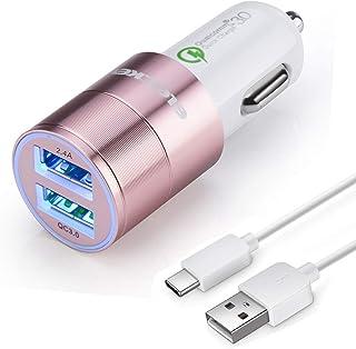 شاحن سيارة USB C سريع متوافق مع Samsung Galaxy S10 Plus/S10/S10e/S9/S9 Plus/S8/S8 Plus/S8 Active/Note 10 Plus/Note 9/8/A20...