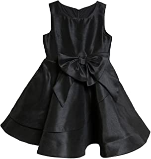 5/10 Elegant Solid Color Shantung Girls Special Occasion Dress with Big Bow