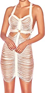 UONBOX Women's Sexy Sheer Mesh See Through Low Open Back Fringed Strappy Tassel Bandage Dress Night Party