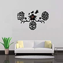 ساعة حائط على الطراز الاسلامي من سافوكو بامكانك تركيبها بنسك ملصقات ثلاثية الابعاد لديكور المنزل، لون اسود