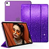 ZoneFoker Case for iPad Pro 11 inch 1st/2nd/3rd/ Generation 2021/2020/2018, Smart Slim Lightweight Glitter Folio Cover with Trifold Stand Translucent Clear Back for Girls/Women(Purple)