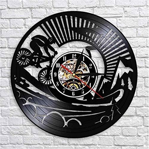 Regalo reloj de pared de vinilo reloj de registro bicicleta de montaña reloj vintage reloj de cuarzo silencioso reloj de pared regalos personalizados hechos a mano para niños y adultos 12 pulgadas con