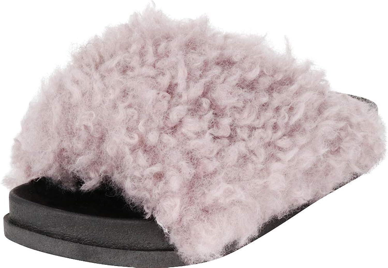 Cambridge Select Women's Open Toe Slip-On Flat Faux Fur Slide Sandal