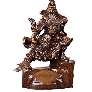 Baoniansoo Feng Shui Large 16lb Chinese Guan Yu/Guan Gong Warlord Statue Hold Knife Cuan Yu Gong/Kwan Kung/Guan Di Wielding Green Dragon Crescent Blade