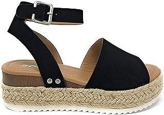 SODA Little Kids / Children / Girls Topic-IIS Espadrille Flatform Wedge Open Toe Sandals