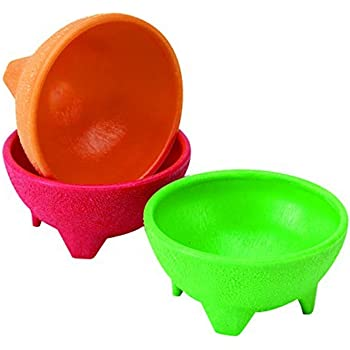 IMUSA USA MEXI-2001 Plastic Salsa Dishes 3-Piece, Red, Orange, Green