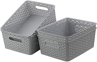 Kiddream Set of 4 Grey Plastic Baskets, Woven Storage Baskets Bin