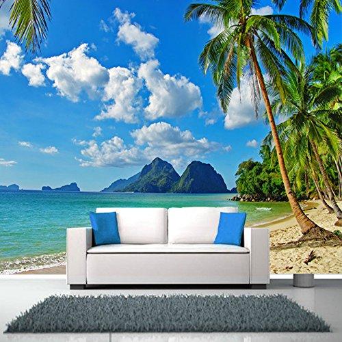 Südostasien Küstenlandschaft Anpassen Persönlichkeit 3D Wandbild Strand Bäume Tapete Wohnzimmer Sofa Hintergrund Wandbild Tapete-360 * 280cm