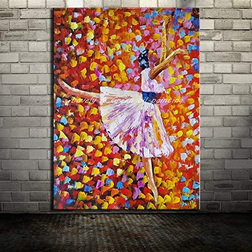 YSYHB Moderne Abstrakte Balletttänzerin Bild Für Wohnzimmer Wohnkultur Handgemalte SpachtelÖlgemälde Auf LeinwandWandkunstGeschenk18x24