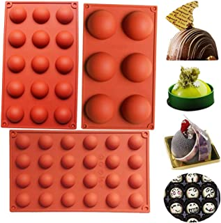 BAKER DEPOT Bakewareケーキ装飾のためのシリコーン金型セットゼリープリンディングキャンディーチョコレート6穴半円形15穴半円形24穴半円形各デザイン1pcブラウンカラー、3個セット