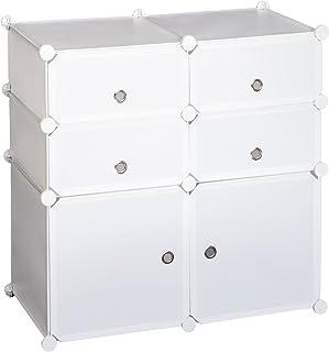 HOMCOM Armoire étagère à Chaussures 3 Niveaux 6 Compartiments Plastique + Autocollants décoratifs 75L x 37l x 73H cm Blanc