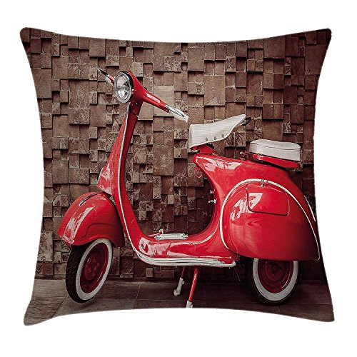 Vintage Throw Pillow Cushion Cover, Retro Motorcycle Nostalgic Scooter in Front of Wall Vehicle Traffic Urban Picture, Decorative Square Accent Pillow Case, Red Umber 18x18 inches