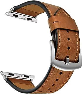 Pulseira De Couro Esportiva Marrom Para Apple Watch 42/44mm